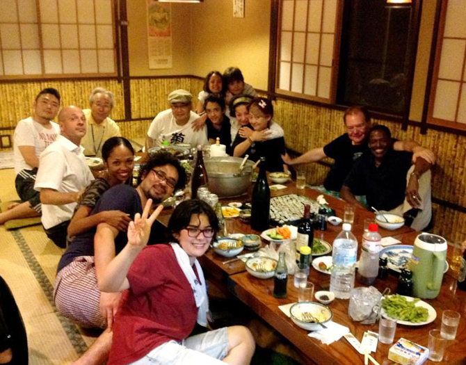 A homely dinner in our Ryokan after the show