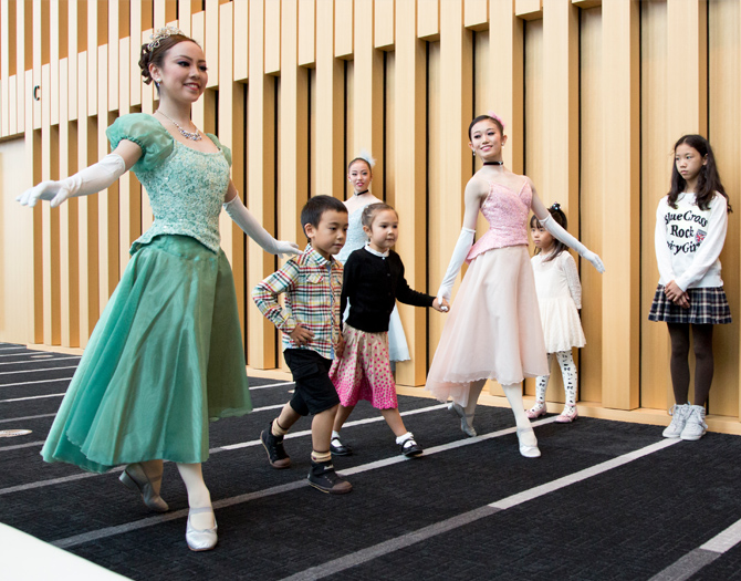 "In the ""Let's dance Mozart"" kids tried minuet steps with the dancers"